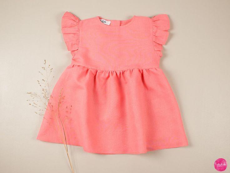 Babykleid Mädchenkleid Leinenkleid mit Flügelärmel ...