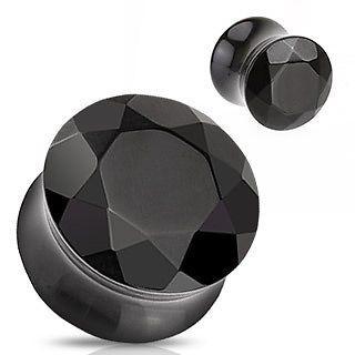 Sattel Plug Tunnel Piercing - facettierte Black Agate