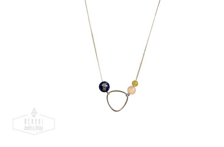 Brass geometric shape necklace www.merakijewellerydesign.com