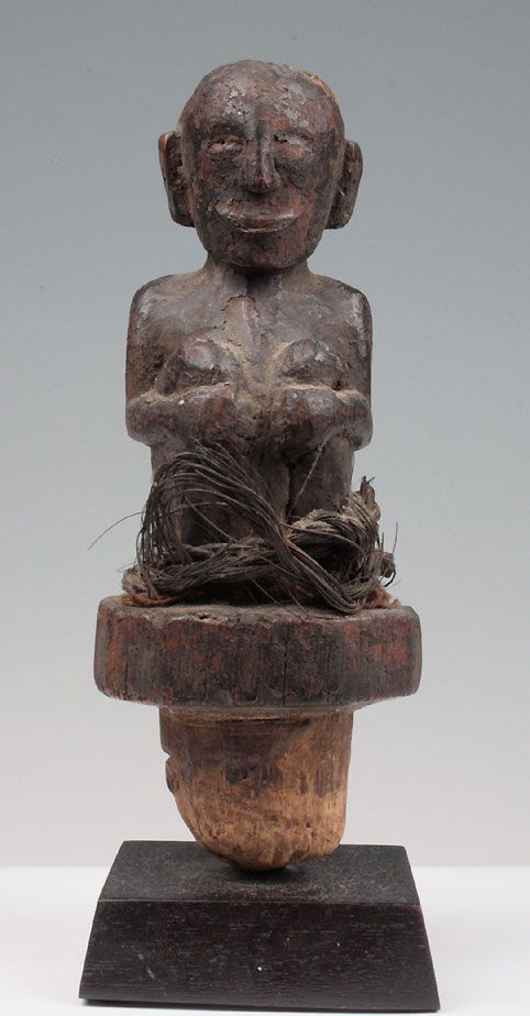 19TH C. BATAK MEDICINE STOPPER W/ SEATED FIGURE, Ex. Irwin Hersey…