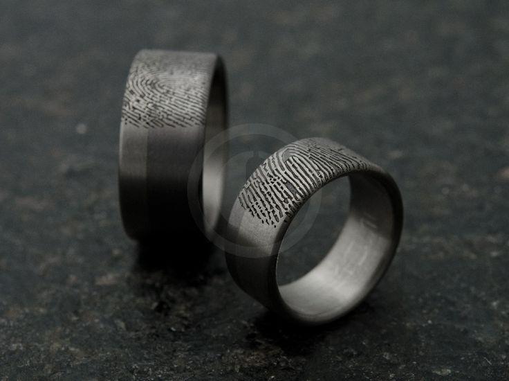 Bagues de mariage tantale, titane et empreintes - cbijoux- création de bijoux contemporains, Suisse