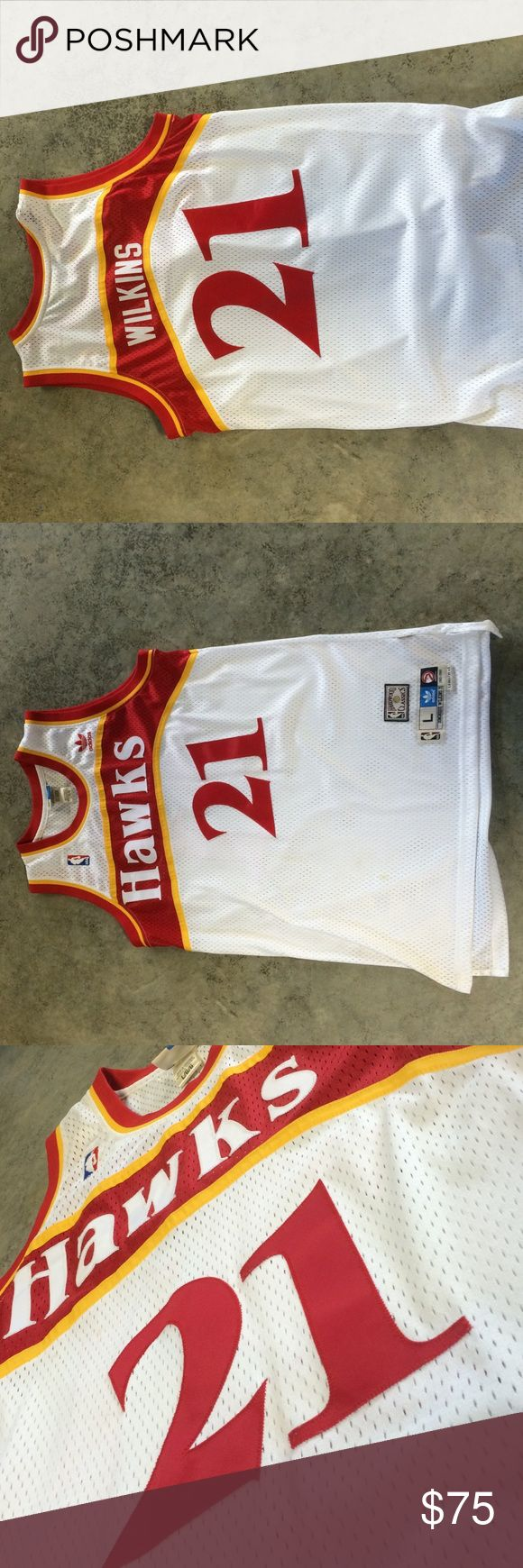 Dominque Wilkins Atlanta Hawks Jersey Letters and numbers are sewed on. White throwback jersey. Hardwood classic. Only been worn 2-3 times Adidas Other