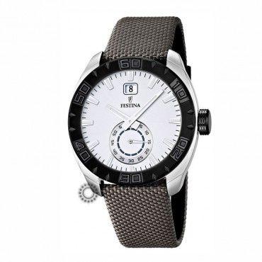F16674/1 Ανδρικό λιτό ρολόι χειρός FESTINA με λευκό καντράν & γκρι ύφασμα | Οικονομικά ρολόγια FESTINA - Κοσμηματοπωλείο ΤΣΑΛΔΑΡΗΣ στο Χαλάνδρι #Festina #μαυρο #ημερομηνια #υφασμα #ρολοι