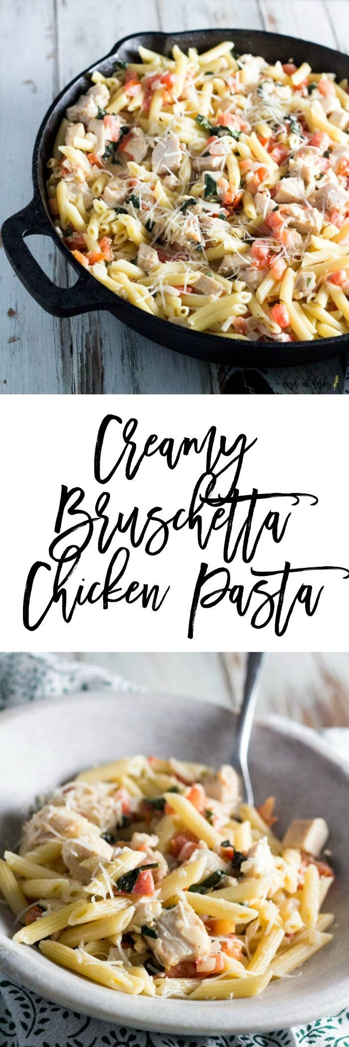 Creamy Bruschetta Chicken Pasta - If you crave a creamy pasta dish, you need to try this delicious creamy Bruschetta chicken pasta recipe. This dish is quick to make and will please your whole family. This recipe is only 5 SmartPoints on Weight Watchers per serving, 1 cup. #pastafoodrecipes