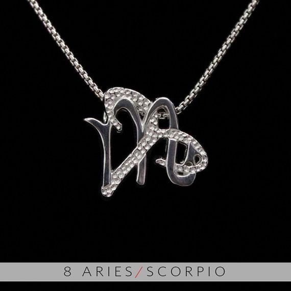 8 Aries and Scorpio Silver Unity Pendant by UnityDesignConcepts, $59.99