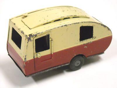 Vintage Tri Ang Minic Toys Tin camper Trailer 1950's England