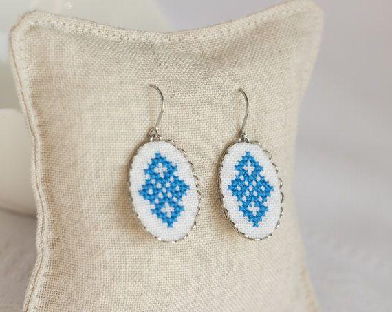 Hand embroidered earrings  blue Ukrainian cross stitch  by skrynka