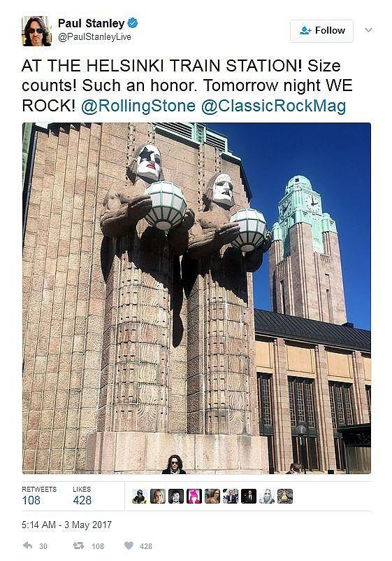 Paul Stanley julkaisi Twitter-päivityksen Helsingin rautatieasemalta nähtyään kivimiesten Kiss-maskit.