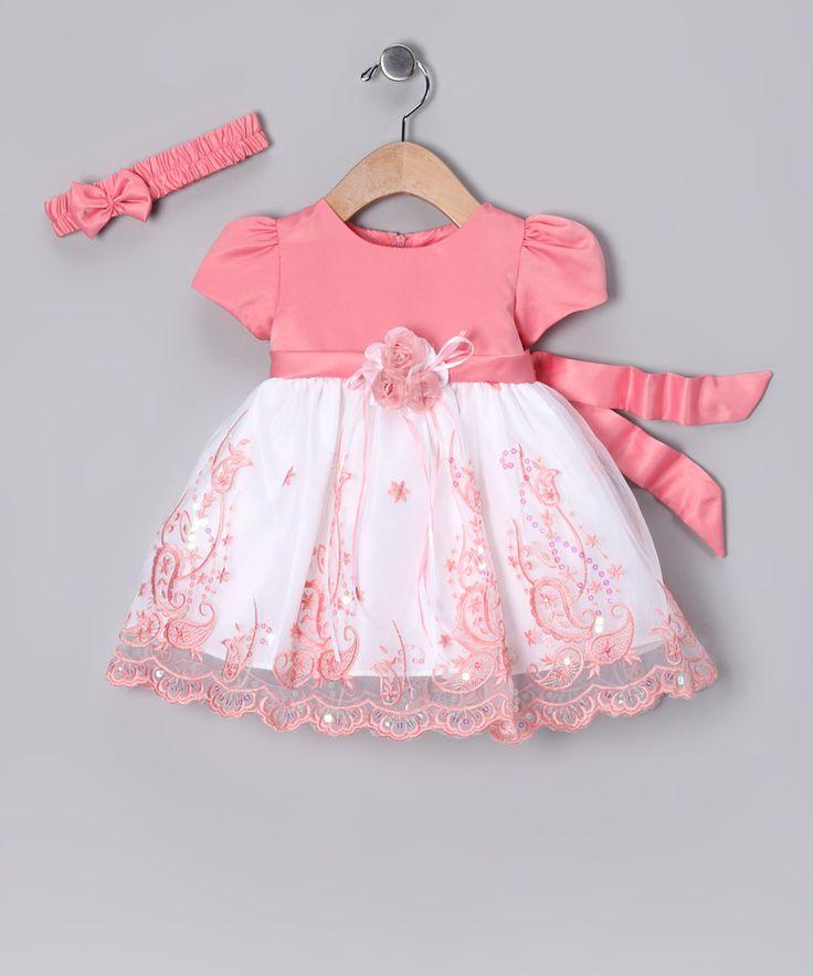 Peach & White Paisley Dress & Headband - Infant