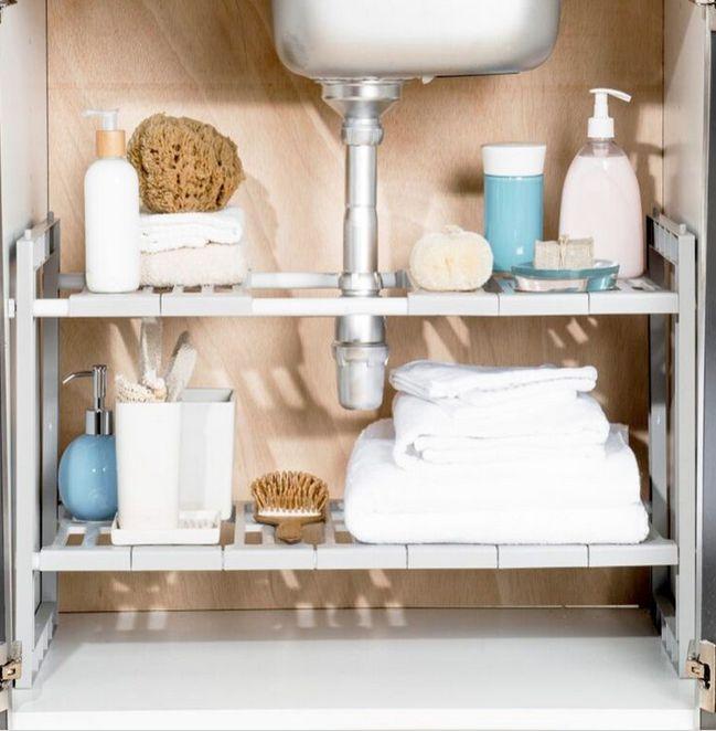 étagère sous lavabo, rangement pratique, ranger sous labavo, salle de bains, on range tout