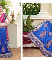 Buy Royal blue embroidered net unstitched lehenga choli lehenga-choli online