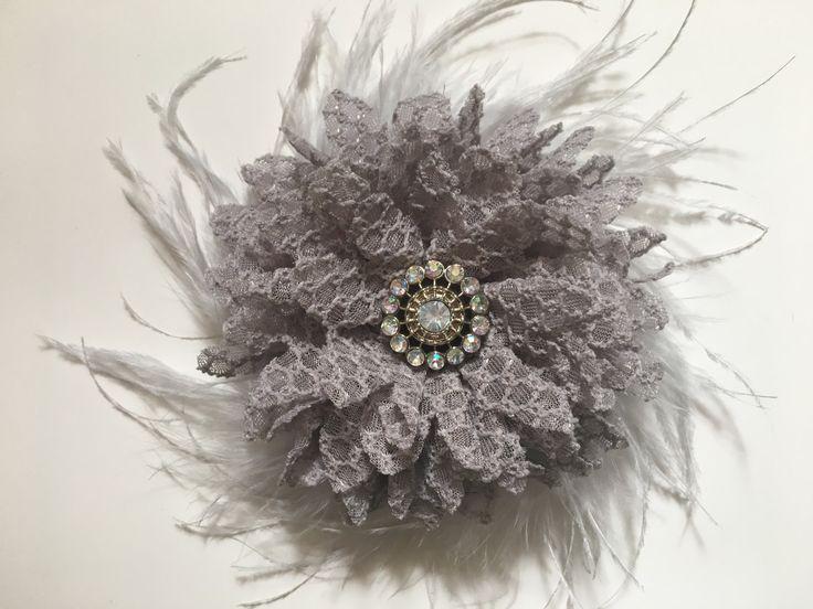 Bridal Hair Flower Accessory, Grey Textured Hair Flower Feather Hair Fascinator Clip, Silver Grey Flower Clip, Flower Girl, Dance Costume