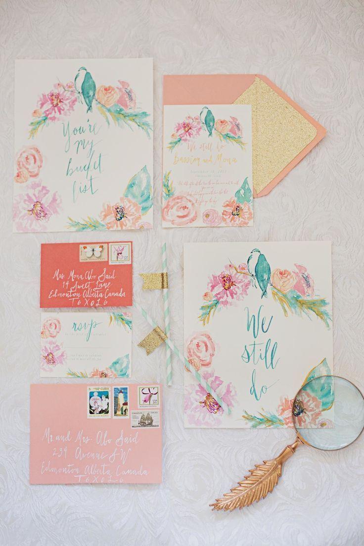 水彩カラーがほんのりかわいい参考にしたい春の結婚式の招待状一覧♪