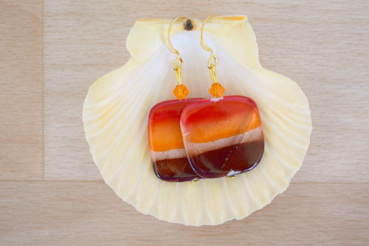 Square Seashell Earrings - Ombre Earrings - Sea Shell Jewelry - Red-Orange-Brown Earrings - Natural Jewelry - Dangle Earrings by SkadiJewelry on Etsy