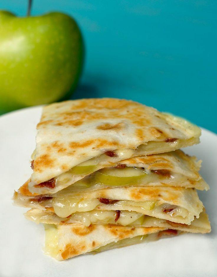 apple, cheddar + bacon quesadillas
