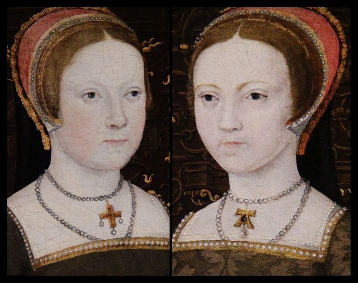 "Henry VIII's daughters - Mary I on the left and Elizabeth I on the right, as princesses. These portraits are enlarged from ""The White Hall Family  Portrait"" Anne Boleyn's ""A"" pendent can clearly be seen hanging around Elizabeth's neck.:"