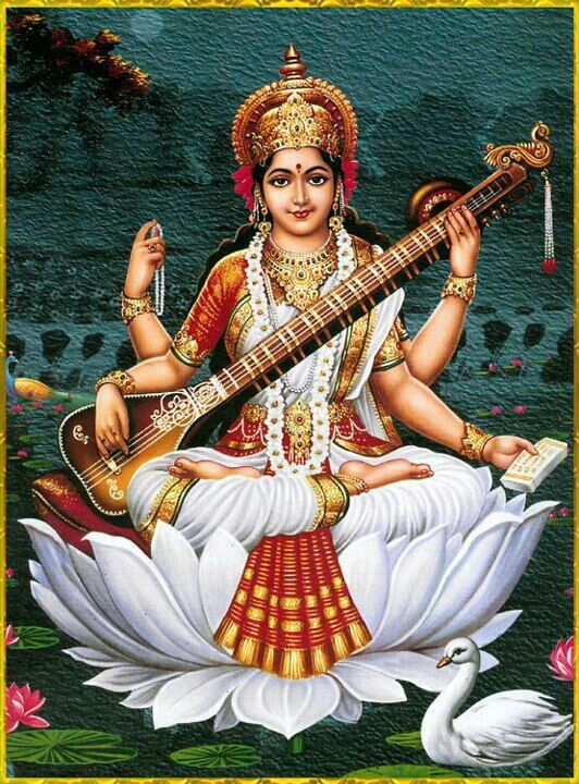 Saraswati: the goddess of knowledge and arts(represents the free flow of art and conciousness) Four arms represent the four ways of learning:mind, intellect, alertness and ego.   http://hinduism.about.com/od/hindugoddesses/p/saraswati.htm