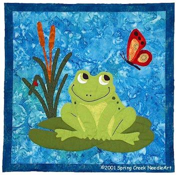 """#2031 Francois Frog $8.00 Our charming frog sits on a lily pad with his friends, the ladybug and the butterfly. Easy enough for the beginner. Hand, machine or fusible appliqué. Facial features are drawn in or embroidered. Finished size: 21"""" x 21"""""""