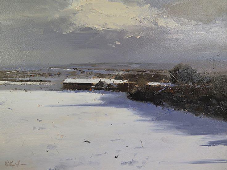 "Snowfall, Denham Lane, Lancashire by Michael John Ashcroft Oil ~ 8"" x 10"""