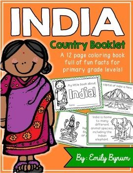 """This """"All About India"""" booklet can be used for a very basic country study in lower elementary grades! Each page contains a basic fact and related illustration. All graphics are in an outline format so that it's ready to be colored like a mini-coloring book.This coloring booklet gives all the general/basic information about India, including:-geography-Indian flag-capital city of New Delhi (Lotus Temple)-Himalayas -sacred animals (cows)-monsoons-cricket (popular sport)-Taj Mahal-common…"""