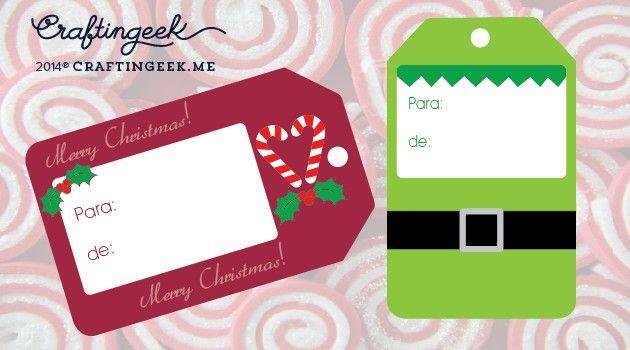 Descarga unos tags navideños para regalos de navidad. Hay varios diseños diferentes y súper lindos que también puedes usar para un scrapbooks o tarjeta.