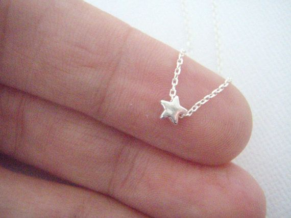SALE- Tiny Sterling Silver Star Necklace- Silver Star Jewelry- Dainty 925- Space Themed- Delicate minimalist Solid Silver Star