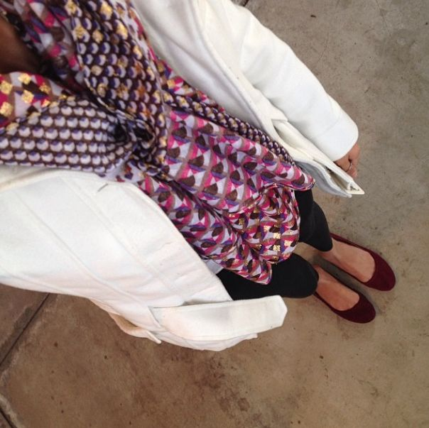 Sallymander9 Charming Charlie's scarf, white peacoat, black american eagle jeggings, maroon target flats, spring outfit 2014