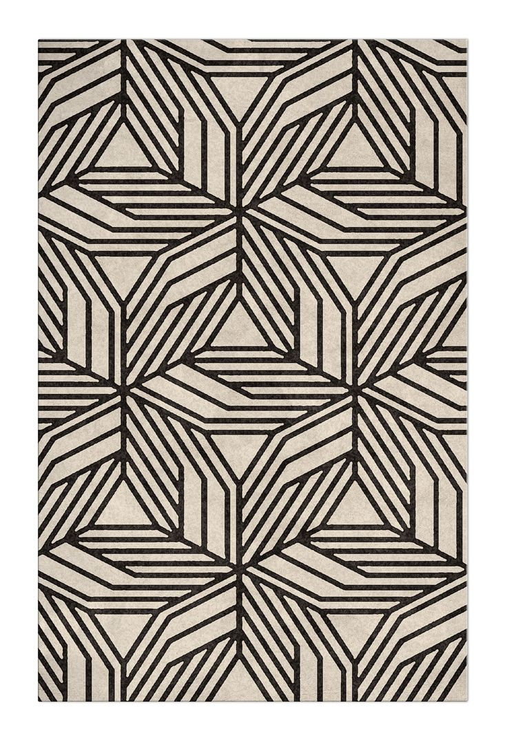 Black and White rug | A mid-century modern looking rug, it will look amazing in a hallway design, by the brand Brabbu | Find more: https://www.brabbu.com/en/rugs/cauca-rug/ #blackandwhiterug #modernrugs #contemporaryrugs #designerrugs