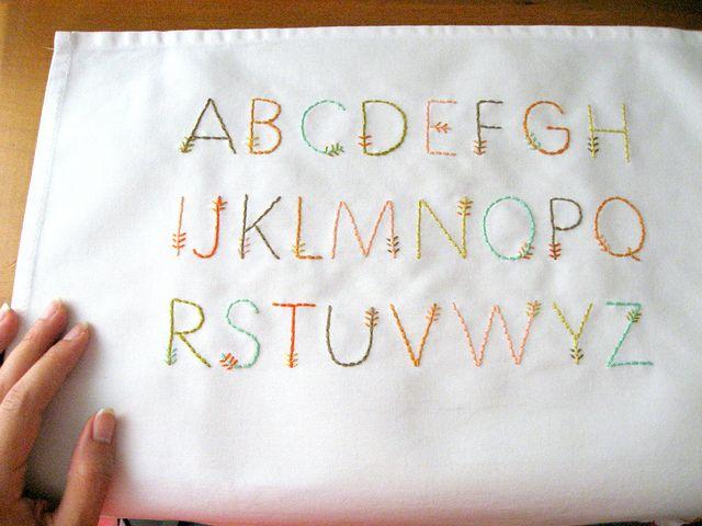 Feather stitch alphabet by floresita, via Flickr