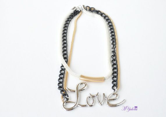 Long Love Necklace  Multi Layered Necklace  Love by MYadoria, $25.00