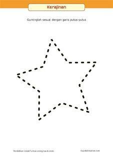 pola latihan menggunting untuk anak balita/TK, belajar koordinasi motorik, bentuk bintang