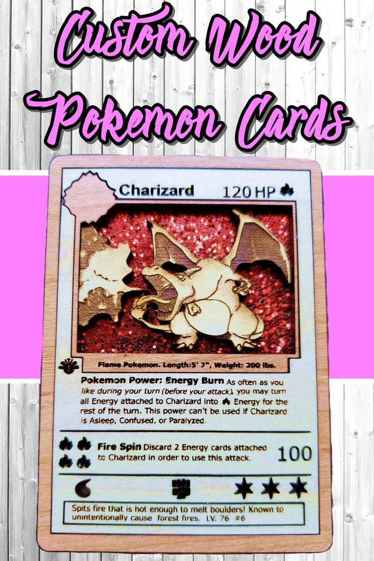 3d wooden pokemon card charizard from base set holo