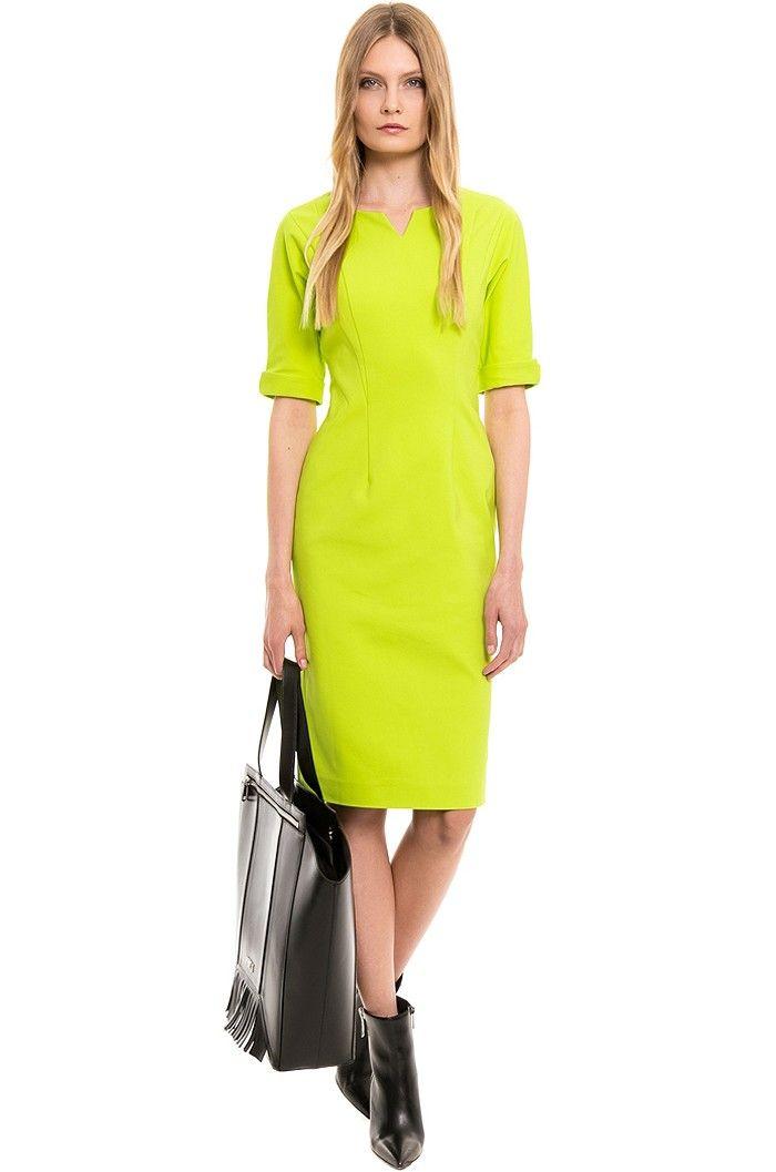 Rochie pe corp, verde deschis  - Simple