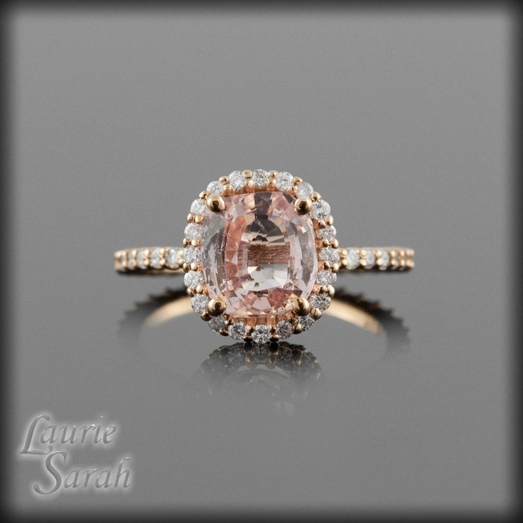 Rose Gold Engagement Ring Oval Cushion Cut Pink Sapphire Engagement Ring wi