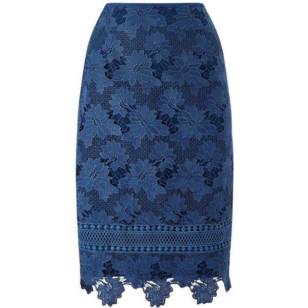 Jacques Vert Lovely Lace Border Skirt ($62) ❤ liked on Polyvore featuring skirts, floral print skirt, patterned pencil skirt, flower print skirt, blue knee length skirt and blue floral skirt