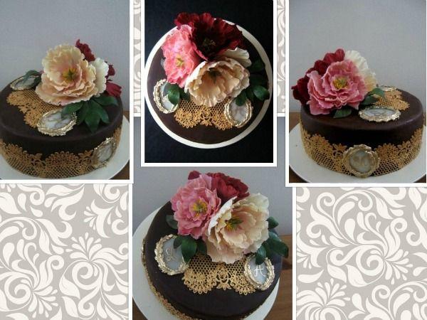 Narodeninová torta s pivonkami pre mamu a dcéru