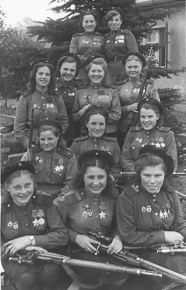 Female snipers of the 3rd Army, Belorussian Front, pose for a victory day photo. Collectively, they scored nearly 700 confirmed kills - Perfect ratio of number of defenders vs. enemy killed.