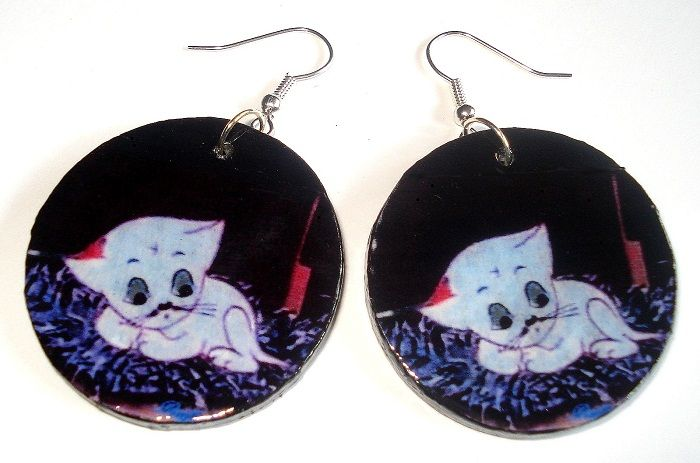 Decoupage - earrings, cat Filemon https://www.facebook.com/eliatelierdecou