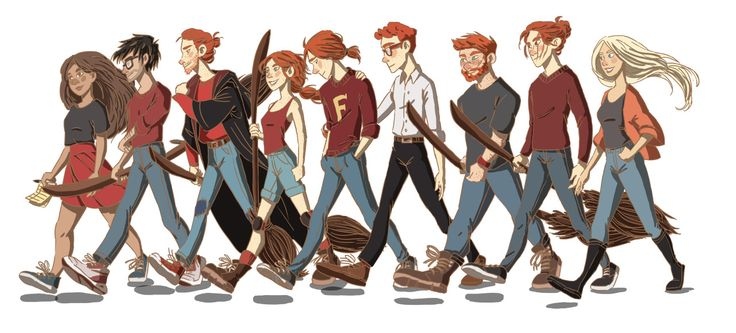 Na, fuck it! Here's a line-up! From left to right: Hermione, Harry, Ron, Ginny, George, Percy, Charlie, Bill and Fleur. All the family is going to play quidditch in the garden.You probabely wonder why they are all in red, well, that's because they're FROM FUCKING GRYFFINDOR YEAH!Headcanon that George loves to wear Fred's clothes so he can still be close to him and that sometimes, when he goes to the kitchen to eat his breakfast, Molly calls him Fred accidentally and when she realize it…