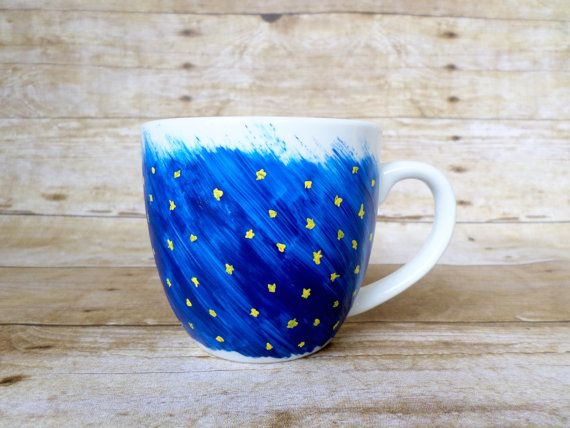 Hand Painted Coffee Mug - One of a Kind Blue and Yellow Coffee Cup, Unique Gifts, Coffee Lovers, Gift for Her, Gift for Him, Starry Sky