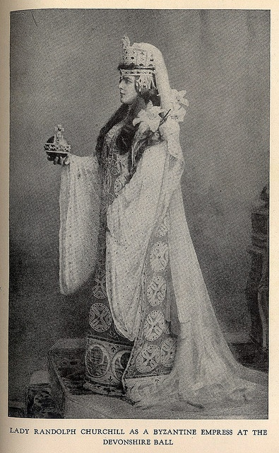 """Lady Randolph Churchill (Sir Winston's mother) at 1897 Devonshire Ball in Byzantine Empress Theodora costume by Worth. - From the book """"A Century of Fashion"""" by Jean-Philippe Worth, 1928."""