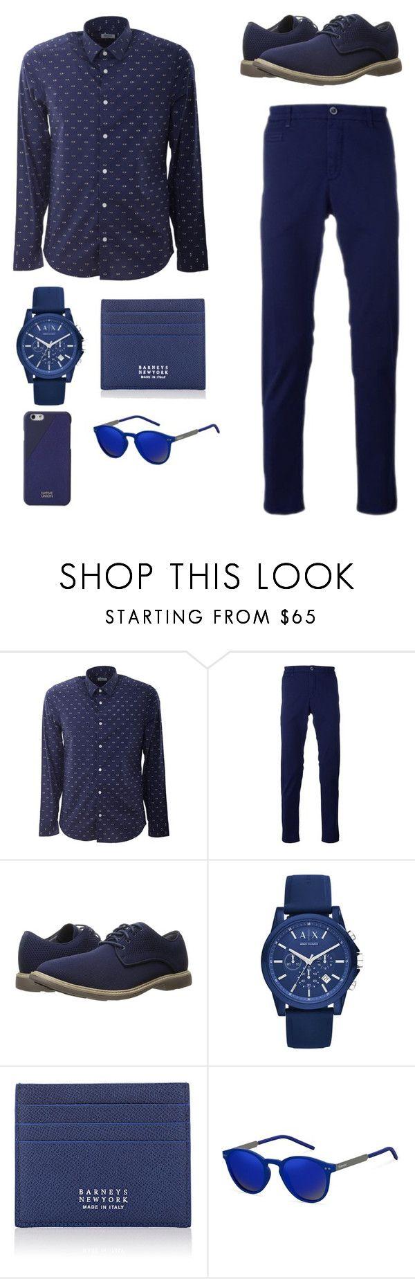 """Blue | Men's fashion"" by maria-casiana ❤ liked on Polyvore featuring Kenzo, Re-HasH, Mark Nason, Armani Exchange, Barneys New York, Polaroid, Native Union, men's fashion and menswear"