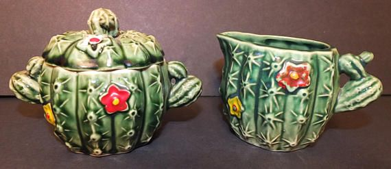 Vintage Cactus Sugar Bowl and Creamer Set