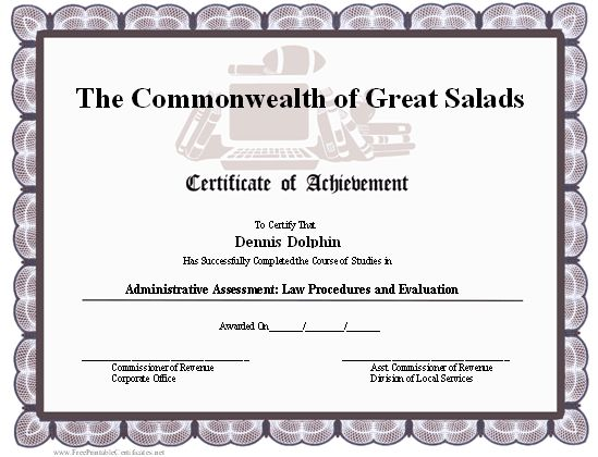 A Certificate Of Achievement For An Academic Setting