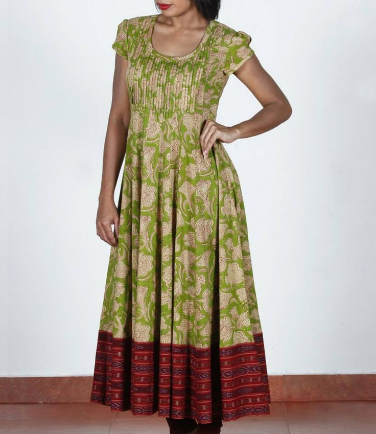 Green with beige, floral, block printed anarkali - Shop at http://www.shalinijamesmantra.com/pastel-bloom/green-with-beige-floral-block-print-anarkali.html