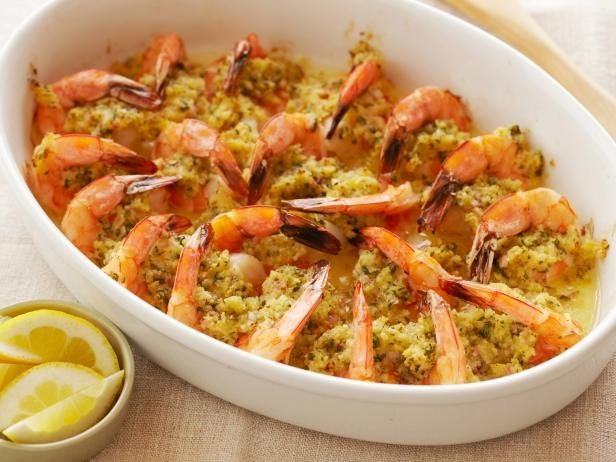 Recipe of the Day: Ina's Baked Shrimp Scampi          Ina adds a topping of buttery, lemon-scented breadcrumbs for a crunchy finish on this easy party favorite.          #RecipeOfTheDayFood Network, Inagarten, Baked Shrimp, Seafood, Barefoot Contessa, Shrimpscampi, Shrimp Scampi Recipes, Baking Shrimp Scampi, Ina Garten