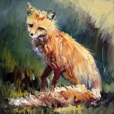 An oil painting of a fox