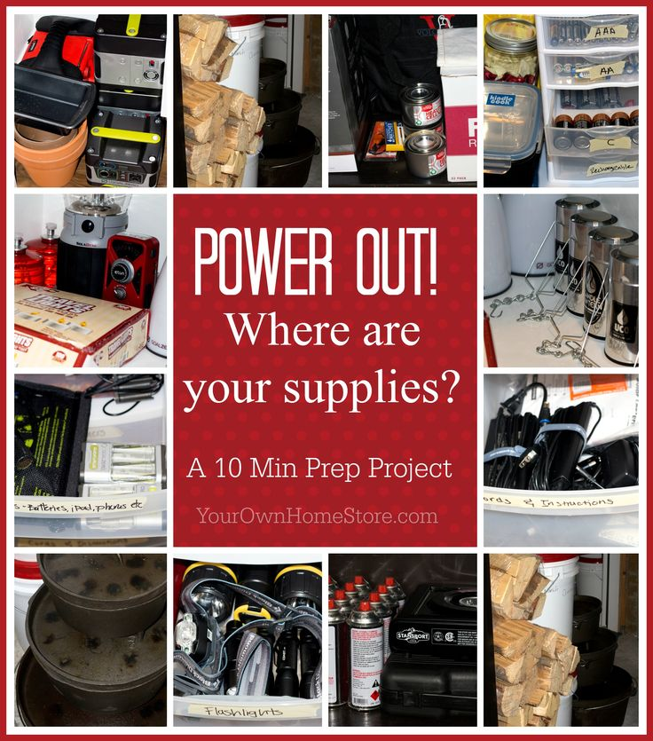 Take 10 minutes and move all your power out supplies together. It won't take long but will make life much easier the next time a blizzard hits! http://www.yourownhomestore.com/power-out-supplies-together/