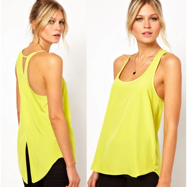 Fashion Women Chiffon Vest Solid Color Sleeveless Back Cross Swallowtail  Design Chiffon Tops Female Yellow Tank Top Plus Size