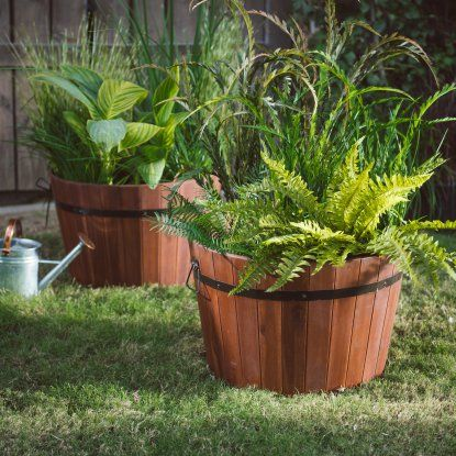 Coral Coast Loxley Wood Barrel Planter - 22L x 18D x 15H | Hayneedle